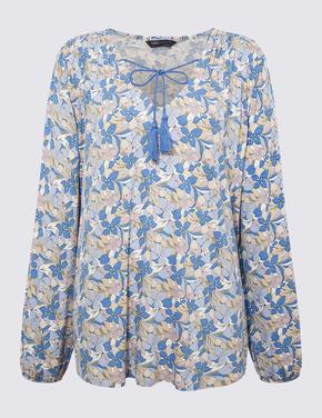 Kadın Mavi V Yaka Uzun Kollu Bluz