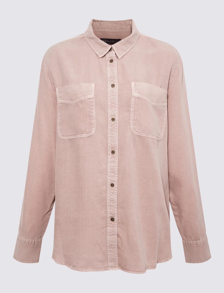 Kadın Pembe Tencel ™ Düğme Detaylı Gömlek