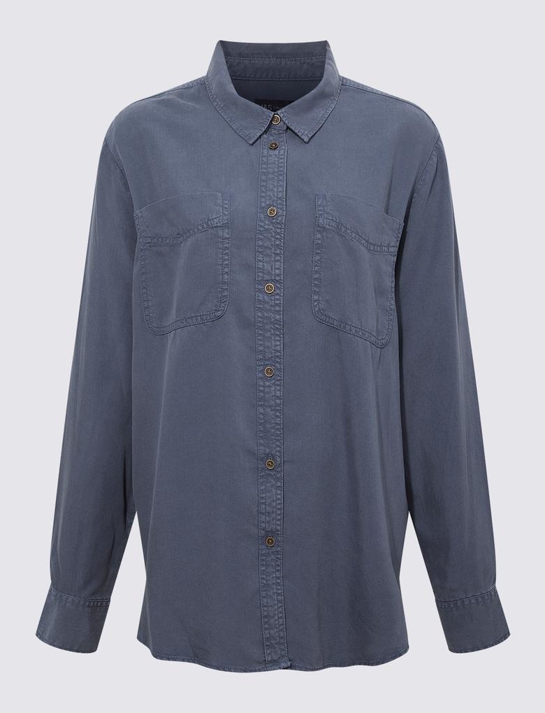 Kadın Mavi Tencel ™ Düğme Detaylı Gömlek