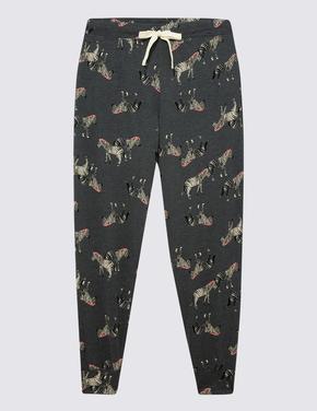 Kadın Gri Pamuklu Zebra Desenli Pijama Altı