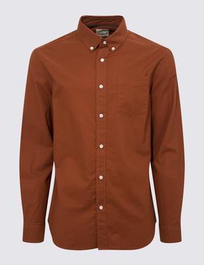 Erkek Turuncu Saf Pamuklu Oxford Gömlek