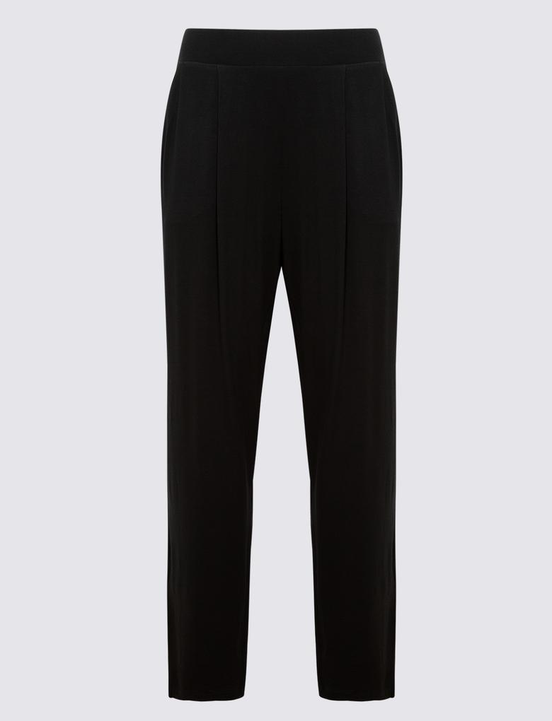 Kadın Siyah Jarse Tapered Pantolon