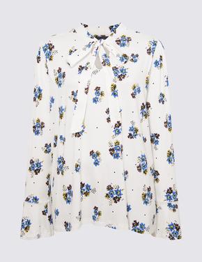 Kadın Beyaz Uzun Kollu Desenli Bluz