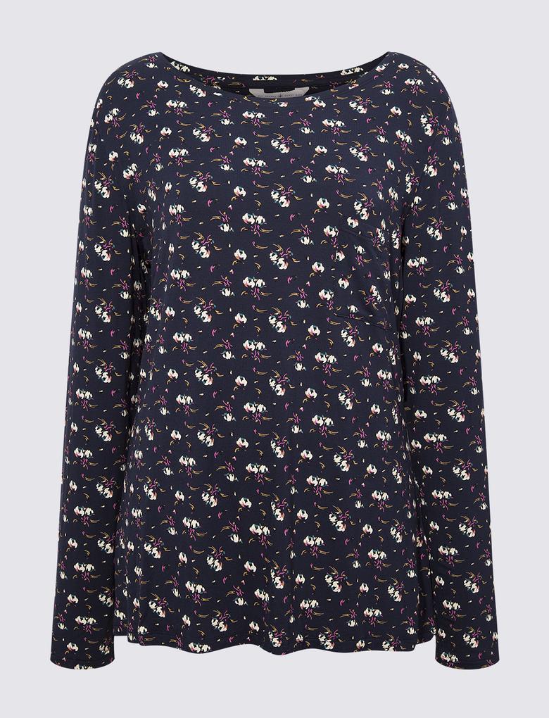 Kadın Lacivert Çiçek Desenli Uzun Kollu Pijama Üstü