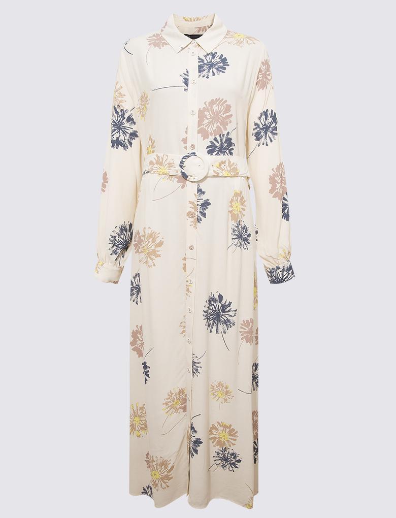 Kadın Bej Çiçek Desenli Elbise