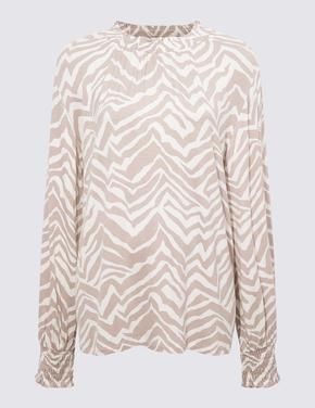 Kadın Renksiz Uzun Kollu Desenli Bluz