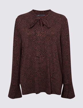 Kadın Kahverengi Uzun Kollu Desenli Bluz