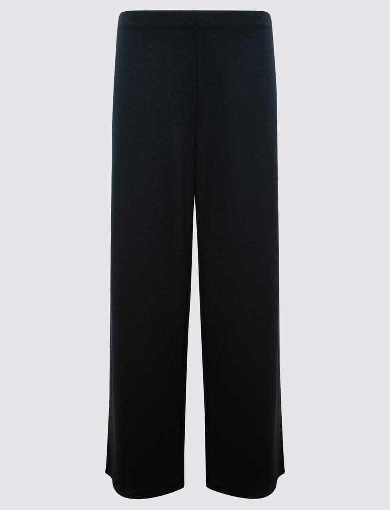 Kadın Lacivert Jarse Wide Leg Pantolon