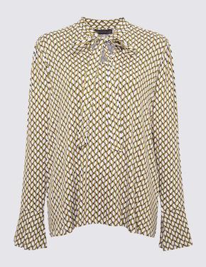 Kadın Sarı Uzun Kollu Desenli Bluz