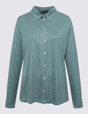 Kadın Yeşil Geometrik Desenli Uzun Kollu Bluz