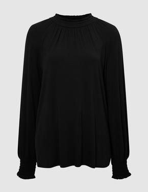 Kadın Siyah Saf İpek Bluz