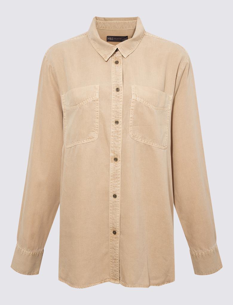 Kadın Kahverengi Tencel ™ Düğme Detaylı Gömlek