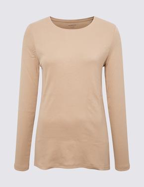 Kadın Kahverengi Saf Pamuklu Uzun Kollu Bluz