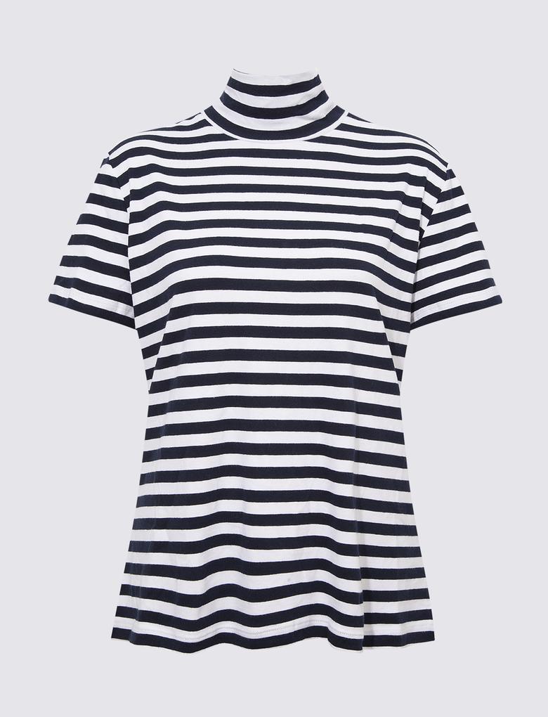 Kadın Lacivert Dik Yakalı T-Shirt
