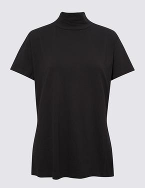 Kadın Siyah Dik Yakalı T-Shirt