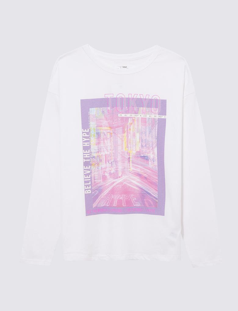Kız Çocuk Beyaz Uzun Kollu Grafik Desenli T-Shirt