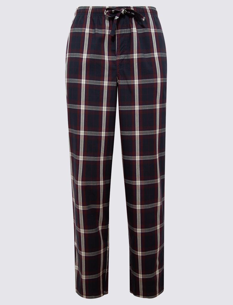 Erkek Bordo 2'li Ekose Pijama Altı Seti