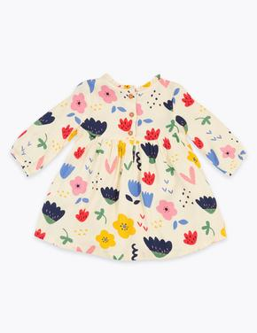 Bebek Beyaz Çiçek Desenli Elbise