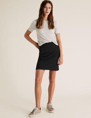 Kadın Siyah Jarse Mini Etek