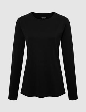 Kadın Siyah Saf Pamuklu Uzun Kollu Bluz