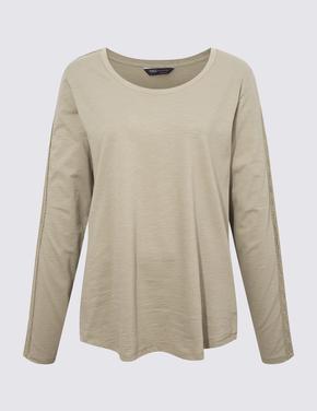 Kadın Yeşil Dantelli Uzun Kollu T-Shirt