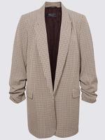 Kadın Bej Kolları Büzgülü Blazer Ceket