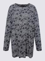 Kadın Lacivert Çiçek Desenli Uzun Kollu Bluz