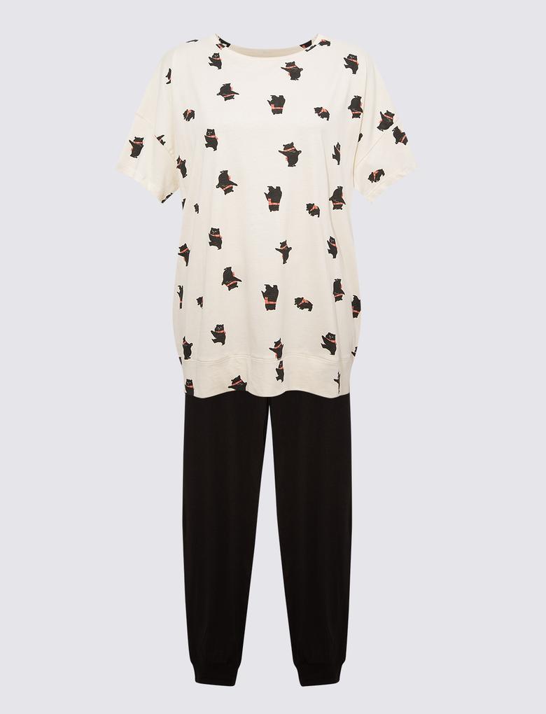 Kadın Bej Saf Pamuklu Pijama Takımı