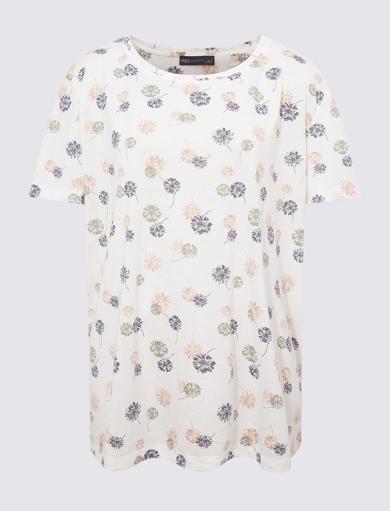 Kadın Bej Çiçek Desenli Yuvarlak Yaka Bluz