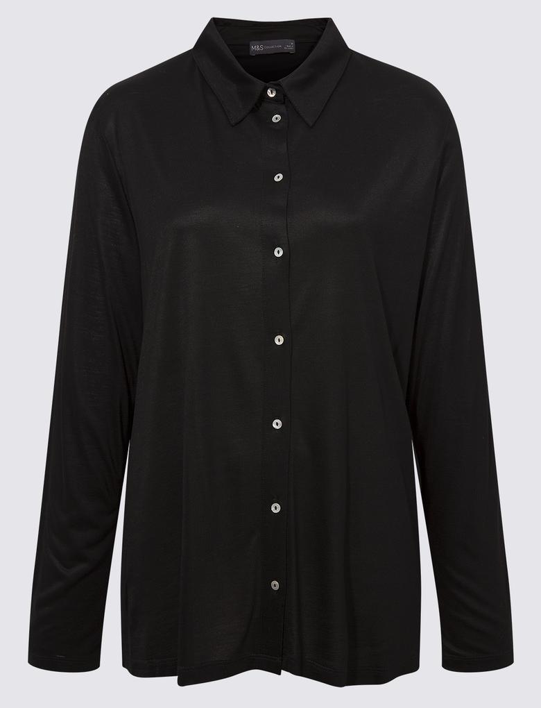 Kadın Siyah Uzun Kollu Jarse Bluz