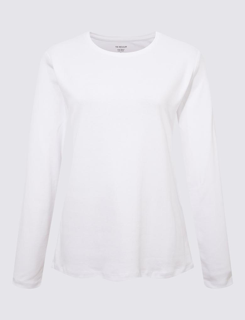 Kadın Beyaz Saf Pamuklu Uzun Kollu Bluz