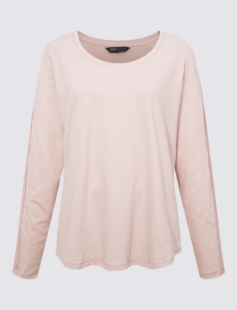 Kadın Pembe Dantelli Uzun Kollu T-Shirt