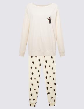 Kadın Bej Saf Pamuklu Desenli Pijama Takımı