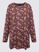 Kadın Mor Çiçek Desenli Uzun Kollu Bluz