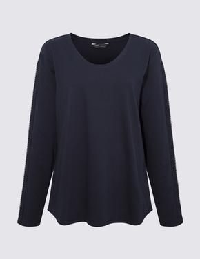 Kadın Lacivert Dantelli Uzun Kollu T-Shirt