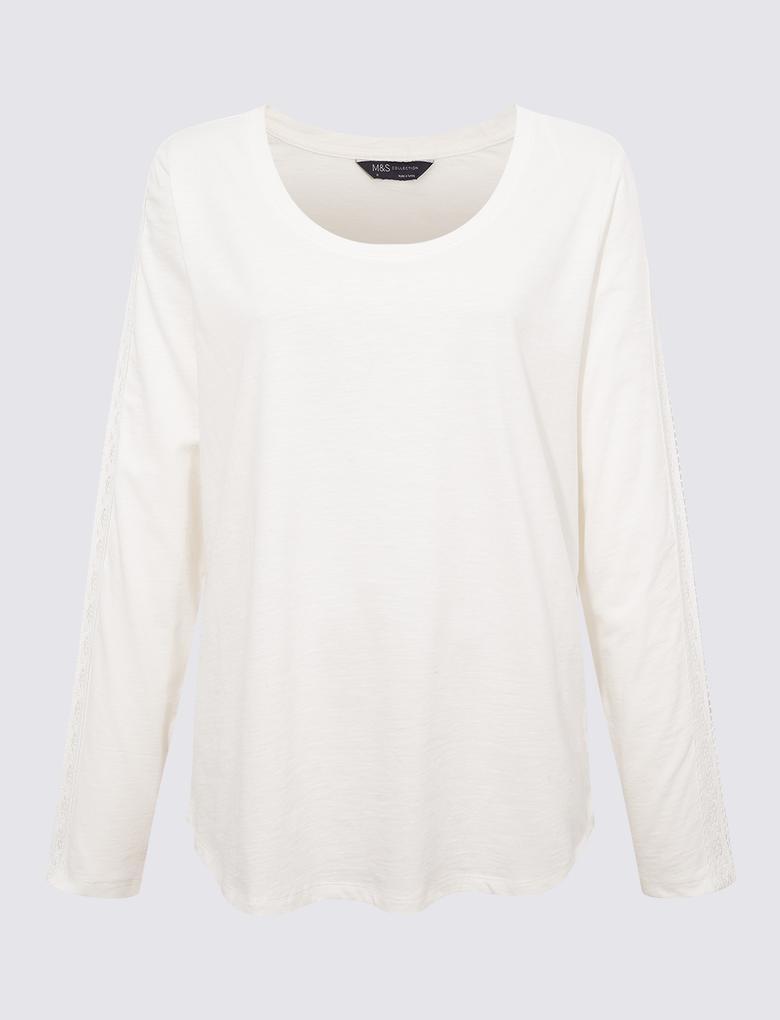 Kadın Beyaz Dantelli Uzun Kollu T-Shirt