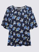 Kadın Lacivert Kısa Kollu Desenli Bluz