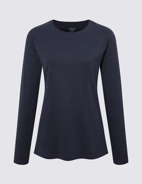 Kadın Lacivert Saf Pamuklu Uzun Kollu Bluz