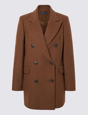 Kadın Kahverengi Çift Düğmeli Blazer Ceket