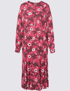 Pembe Çiçek Desenli Waisted Elbise