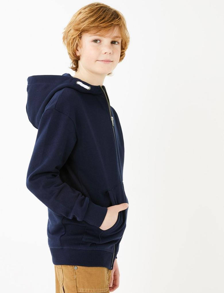 Erkek Çocuk Lacivert Pamuklu Kapüşonlu Sweatshirt