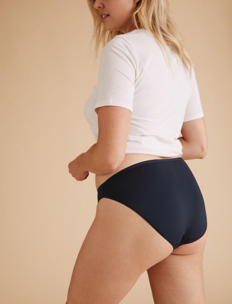 Kadın Mavi 5'li İz Bırakmayan High Leg Külot Seti