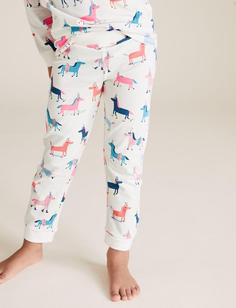 Çocuk Beyaz Pamuklu Unicorn Desenli Pijama Takımı