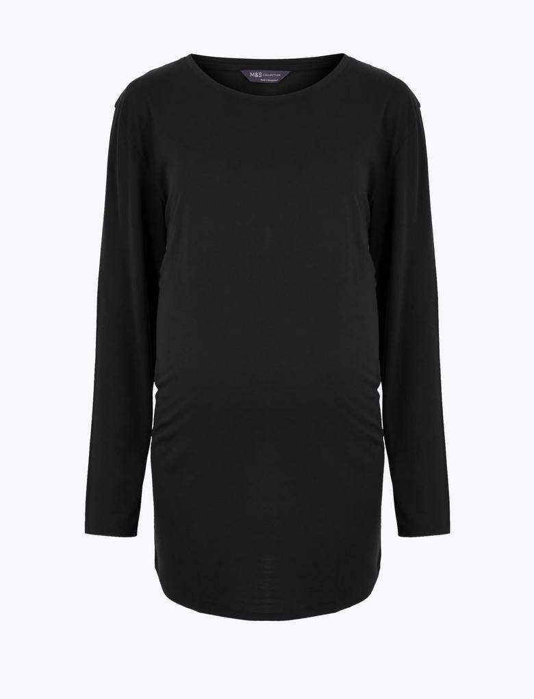 Kadın Siyah Uzun Kollu Relaxed Hamile Bluzu