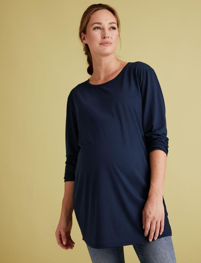 Kadın Lacivert Uzun Kollu Relaxed Hamile Bluzu