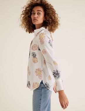 Kadın Bej Desenli Saten Gömlek