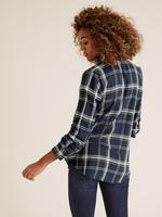 Kadın Lacivert Dik Yakalı Ekose Tunik