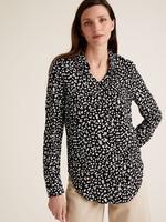 Kadın Siyah Desenli Uzun Kollu Gömlek