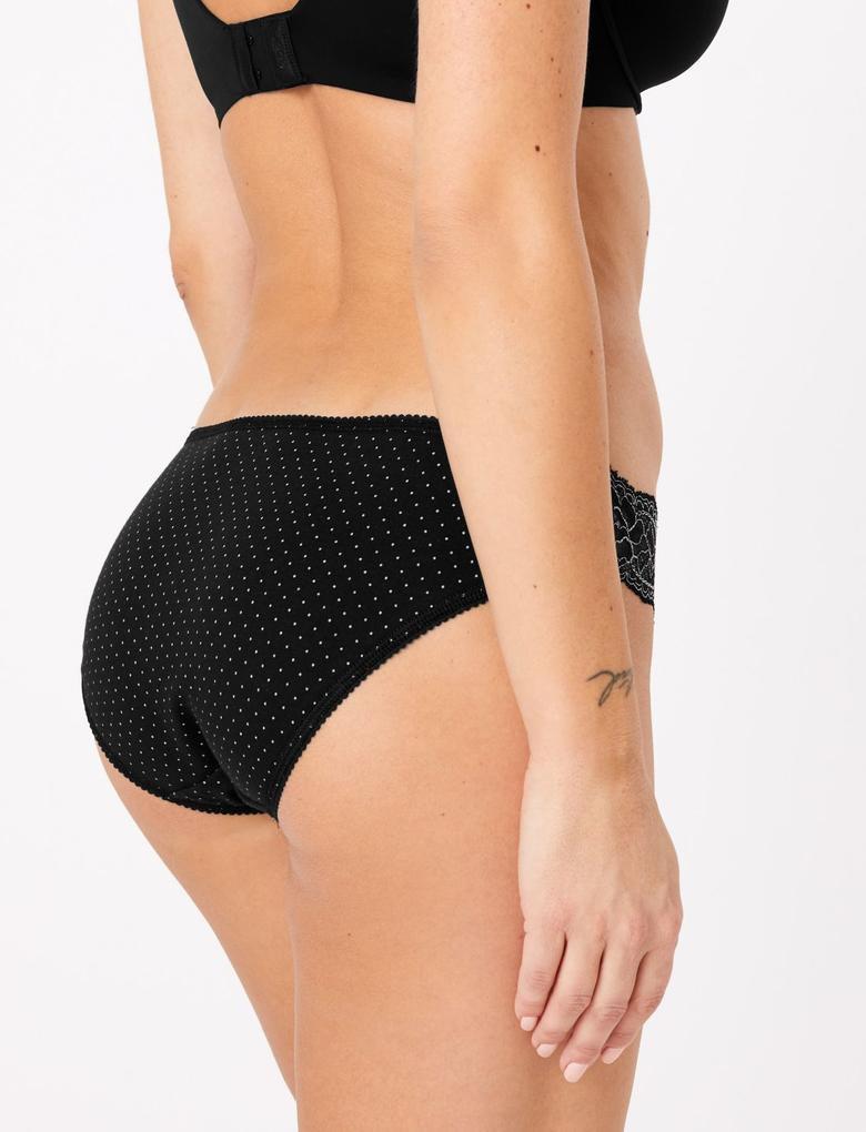 Kadın Siyah 5'li Lycra® Dantelli Bikini Külot Seti