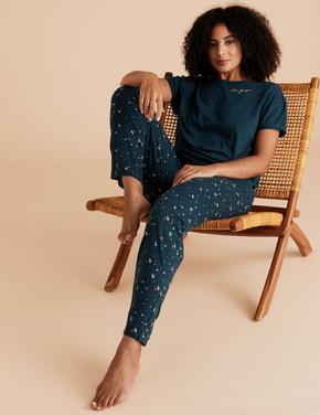Kadın Mavi Yıldız Desenli Pijama Takımı